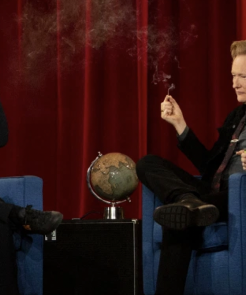 Conan O'Brien and Seth Rogen Share a Joint On Stage